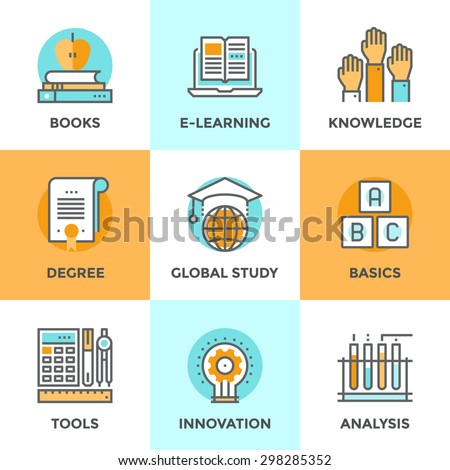 Line icons set with flat design elements of e-learning books for education, degree of specialist, basic and elementary study, innovation of science analysis. Modern vector pictogram collection concept - stock vector