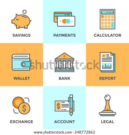 Line icons set with flat design elements of finance objects and banking services, financial items and money symbol, bank building and currency exchange. Modern vector pictogram collection concept. - stock vector