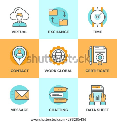 Line icons set with flat design elements of global business work flow, messaging and online communication, data sheet exchanging, contacting new people. Modern vector pictogram collection concept. - stock vector