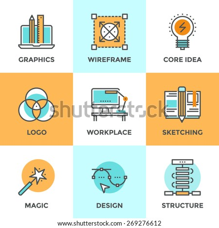 Line icons set with flat design elements of graphic design development, create logo or emblem, sketch drawing, super magic skills, designer workplace. Modern vector logo pictogram collection concept. - stock vector