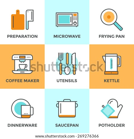 Line icons set with flat design elements of kitchen utensils and kitchenware, cooking food preparation, frying pan, microwave oven and coffee machine. Modern vector logo pictogram collection concept. - stock vector