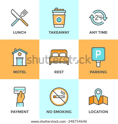 Line icons set with flat design elements of motel accommodation services, small hotel general amenities, parking and no smoking sign, open for 24 hours. Modern vector pictogram collection concept. - stock vector