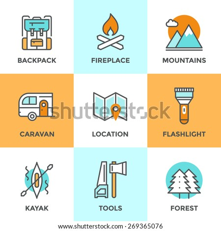 Line icons set with flat design elements of outdoor adventure, tourist trip, hiking equipment, mountain climbing, forest and terrain map, river rafting. Modern vector logo pictogram collection concept - stock vector