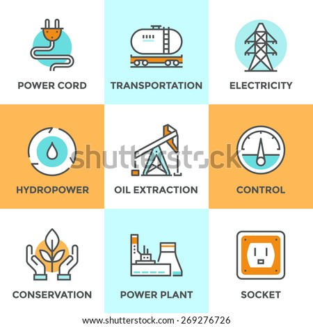 Line icons set with flat design elements of power plant, hydropower energy, oil extraction and transportation, electricity tower, ecology conservation. Modern vector logo pictogram collection concept. - stock vector