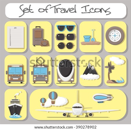 Line icons set with flat design elements of transport and type of journey. Modern vector logo pictogram collection concept.  - stock vector