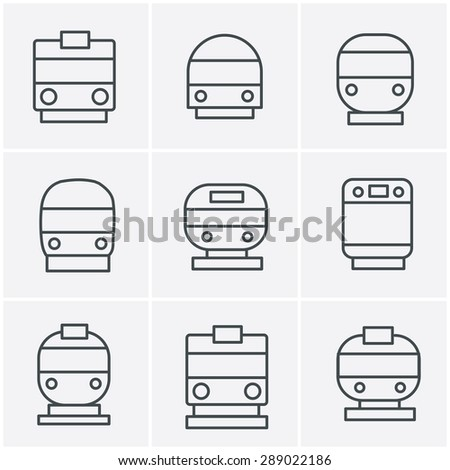 Line Icons Style Set of transport icons - Train and Tram, vector illustration - stock vector