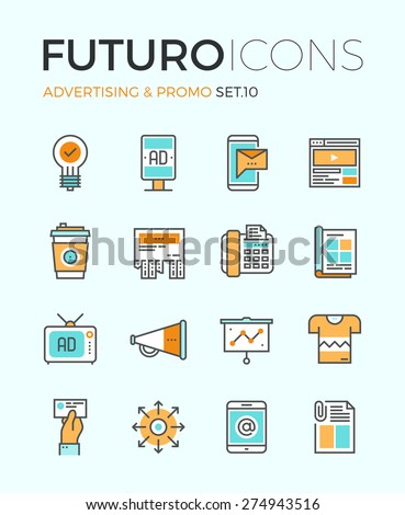 Line icons with flat design elements of advertising material, digital marketing, product promotion, merchandising object, outdoor billboard. Modern infographic vector logo pictogram collection concept - stock vector