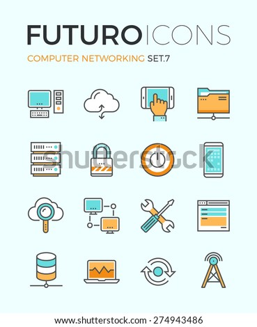 Line icons with flat design elements of computer network technology, cloud computing networking, server database, technical instruments. Modern infographic vector logo pictogram collection concept. - stock vector