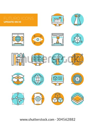 Line icons with flat design elements of 3D printing technology, digital manufacturing modeling and sketching, graphic modification tools. Modern infographic vector logo pictogram collection concept. - stock vector