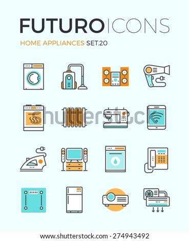 Line icons with flat design elements of major home appliances, consumer electronics devices, household goods for cooking and cleaning. Modern infographic vector logo pictogram collection concept. - stock vector