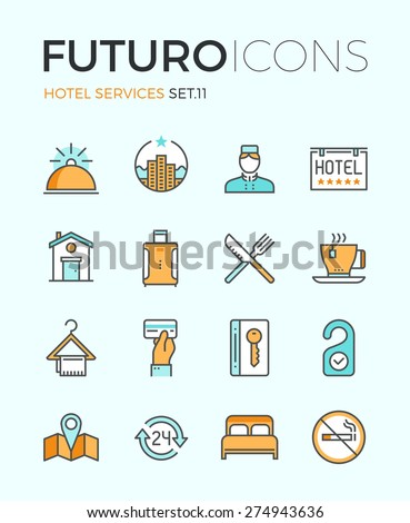 Line icons with flat design elements of major hotel service facilities, luxury resort accommodation, motel facility and hostel amenities. Modern infographic vector logo pictogram collection concept. - stock vector