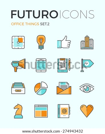 Line icons with flat design elements of marketing things and business essential tools, personal office equipment, work accounting routine. Modern infographic vector logo pictogram collection concept. - stock vector