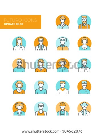 Line icons with flat design elements of people avatars profession, professional human occupation, basic characters set, employee variety. Modern infographic vector logo pictogram collection concept. - stock vector