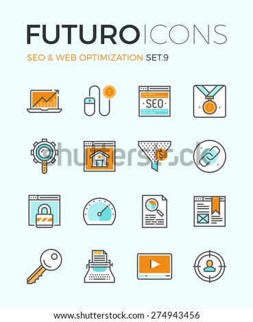 Line icons with flat design elements of search engine optimization, web SEO for traffic growth, rank result, keywording and link building. Modern infographic vector logo pictogram collection concept. - stock vector