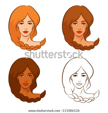 line illustrations of beautiful women with braided hair in different color variations - stock vector