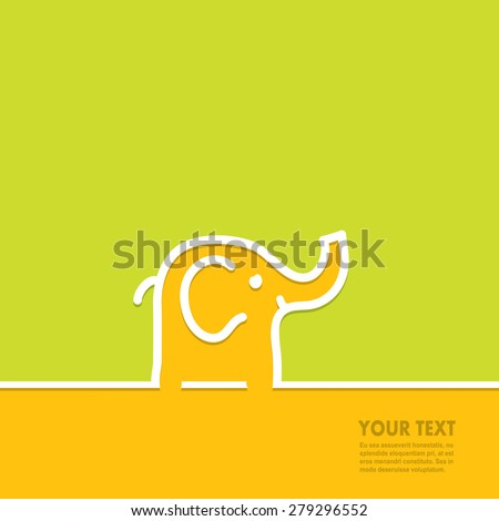 Line in the form of an elephant with space for text, vector