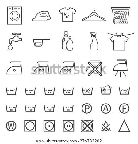 line laundry and washing icon