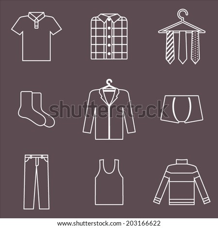 Line man clothes icons set. Shopping elements. Vector illustration