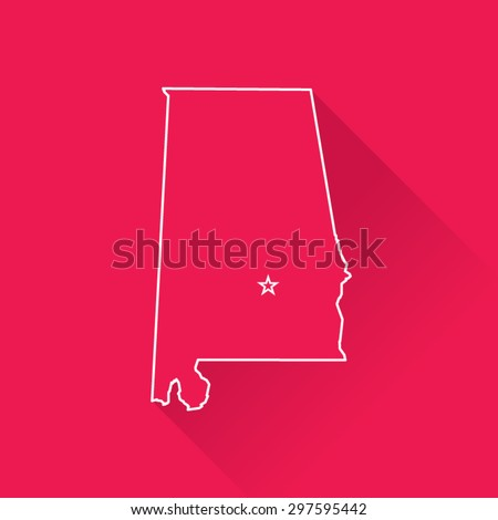 Line Map of Alabama - stock vector