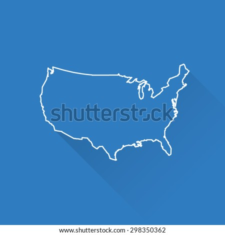 Line Map of USA America  - stock vector