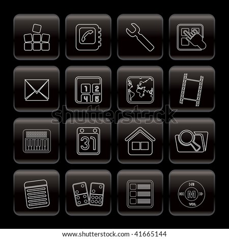 Line Mobile Phone and Computer icon - Vector Icon Set - stock vector