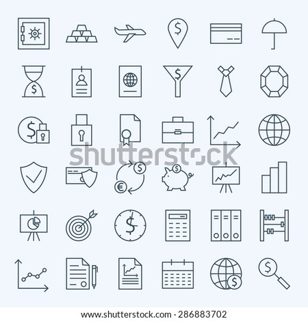 Line Money Finance and Banking Icons Set. Vector Set of 36 Line Art Modern Icons for Web and Mobile. Bank and Banking. Money and Finance Items. Business Commerce Marketing and Shopping Objects. - stock vector