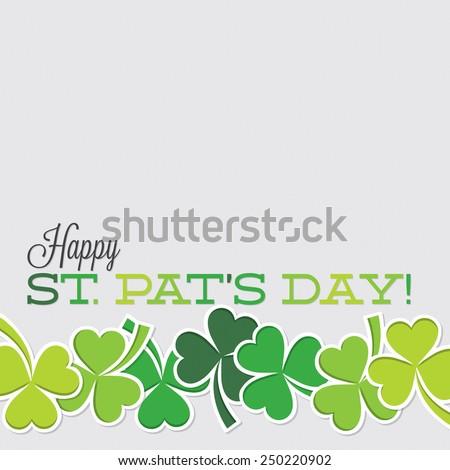 Line of shamrocks St. Patrick's Day card in vector format. - stock vector