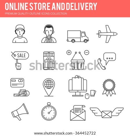 Line online sale, shopping, business, e-commerce, delivery. Vector illustration icon set for your web design - stock vector