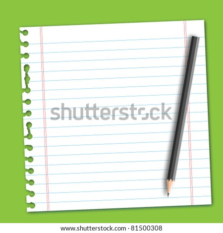 Line paper with pencil - stock vector