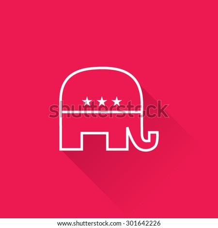 Line Republican Party Elephant Symbol - stock vector