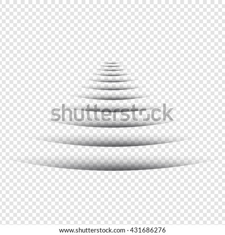Line Shadow - Round Design Elements on Isolated Background - stock vector