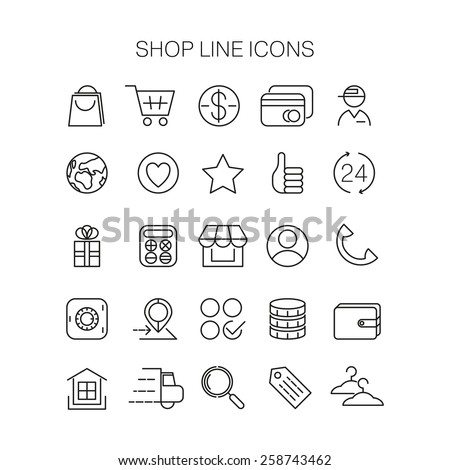 Line shop icons. Vector set. Market line icons. Shop line icons. Business line icon. Shop line icon set. Business line icon set. Shop interface icons. Shop app icons. Market app icons. Business app - stock vector