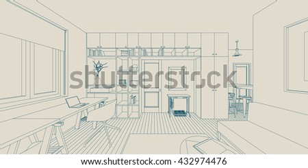 Line sketch of the interior living room - stock vector