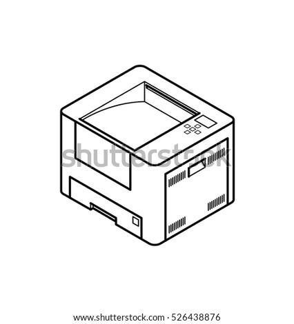 Line style drawing of an office laser printer.