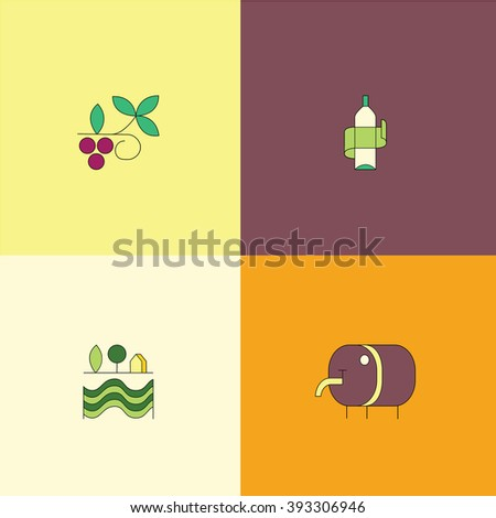 Line style icon collection - wine design elements. Vineyard symbols collection including bottle, glass, grape, barrel, corkscrew. Set of design elements for wineries, restaurants and wine shops.  - stock vector