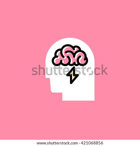 Line style icon of human head with brain on pink background. Brainstorming creative logo - stock vector