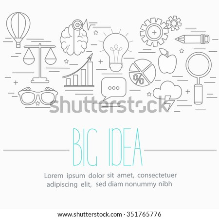 Line style vector illustration design  concept of big idea, finding solution, brainstorming, creative thinking. Lots of business symbols isolated on background with place for your text.  - stock vector