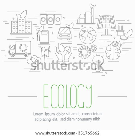 Line style vector illustration design  concept of  ecology. Lots of ecological symbols isolated on background with place for your text.  - stock vector