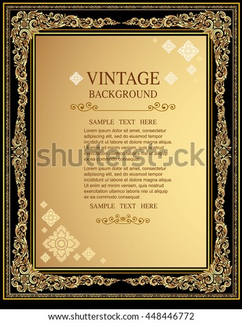Line thai background golden of light.Thailand pattern traditional gold background and texture have label with wave.golden pattern thai silk style vector design for text background,