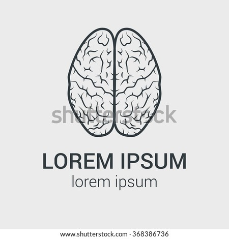 Line vector brain icon on gray background. Single logo with graphic illustration of human brain. - stock vector