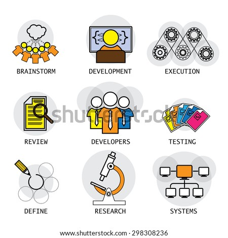 line vector design of software industry process of development & testing. these icons also represent concepts like team, developers, brainstorming ideas defining requirements research systems network - stock vector