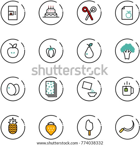 line vector icon set - coffee machine vector, cake, santa stick, diet list, apple, sweet pepper, pear, broccoli, eggs, breads, cereal, green tea, pineapple, strawberry, ice cream, sickle