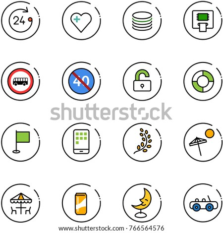 line vector icon set - 24 hours vector, heart, coin, atm, no bus road sign, end minimal speed limit, unlocked, lifebuoy, flag, mobile, golden branch, beach, outdoor cafe, drink, moon lamp, toy car
