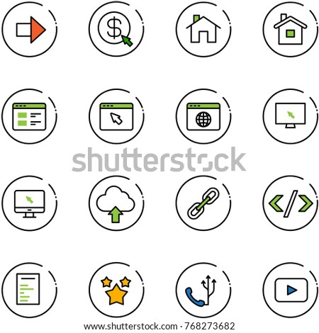 line vector icon set - right arrow vector, money click, home, website, cursor browser, globe, monitor, upload cloud, link, tag code, document, stars, phone, playback