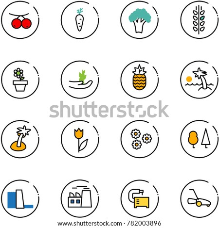 line vector icon set - rowanberry vector, carrot, broccoli, spica, flower pot, hand sproute, pineapple, palm, tulip, forest, water power plant, machine tool, lawn mower