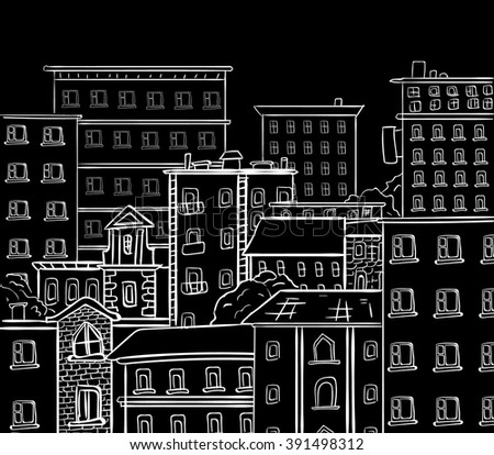 Line work, doodle city. White lines on black chalkboard. VECTOR hand drawn sketch - stock vector