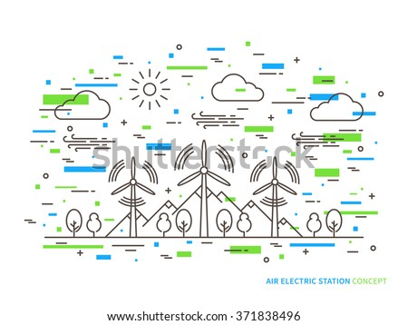 Linear air electric station (wind energy park, wind power station) vector illustration. Air energy (wind-energetic) creative concept. Air electricity (wind turbine, wind motor, graphic design.  - stock vector