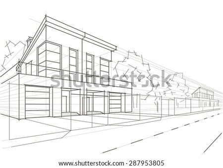 architecture houses sketch. Contemporary Sketch Linear Architectural Sketch Blocked Houses And Architecture Houses Sketch 6
