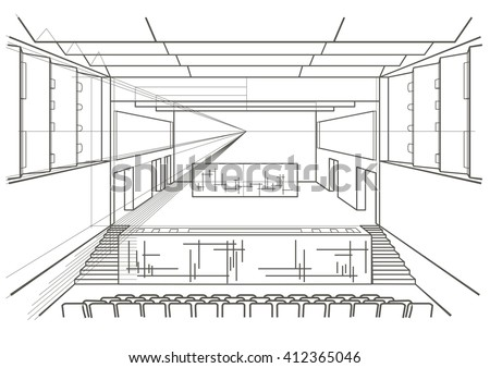 Fashion store hand drawn sketch interior stock vector for Drawing hall interior