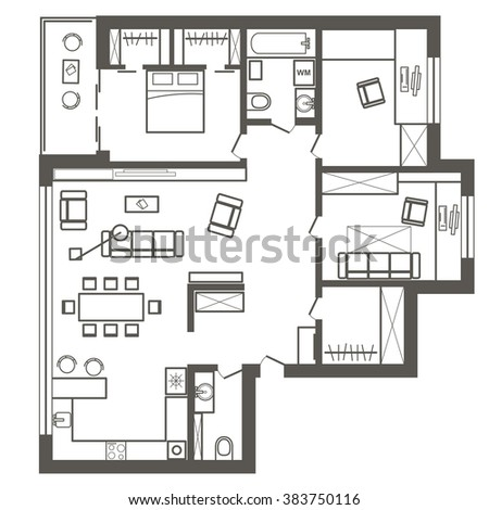 Linear Architectural Sketch Plan Of Three Bedroom Apartment